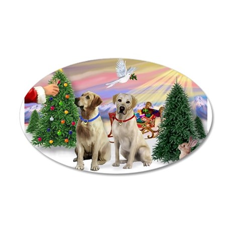 Treat for 2 Yellow Labs 38.5 x 24.5 Oval Wall Peel