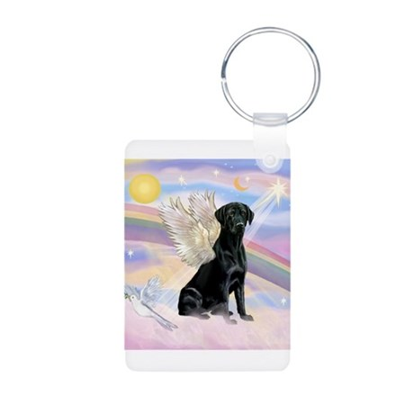 Black Lab Angel Aluminum Photo Keychain