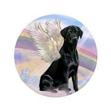 "Black Lab Angel 3.5"" Button"