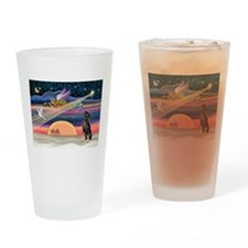 Xmas Star & Min Pin Drinking Glass
