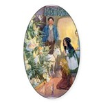 Christmas Tree Fairies Sticker (Oval)