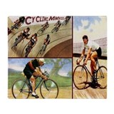 Vintage Cycling Cyclists Throw Blanket
