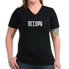 occupy rectangle Women's V-Neck Dark T-Shirt