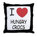 I heart hungry crocs Throw Pillow