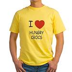 I heart hungry crocs Yellow T-Shirt