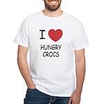I heart hungry crocs White T-Shirt