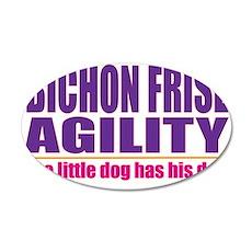 Bichon Frise Agility 38.5 x 24.5 Oval Wall Peel