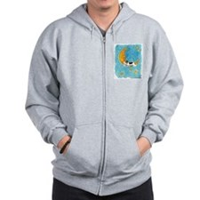 Wire Fox Terrier/Moon Zip Hoodie