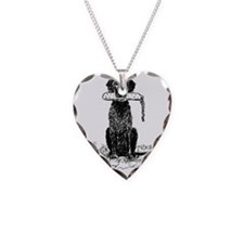 Curly-Coated Retriever with B Necklace Heart Charm