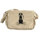 Curly-Coated Retriever with B Messenger Bag