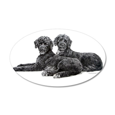 Portuguese Water Dogs 22x14 Oval Wall Peel