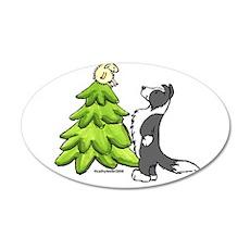 Border Collie Christmas 22x14 Oval Wall Peel