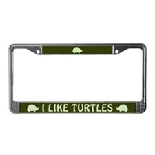 I Like Turtles License Plate Frame