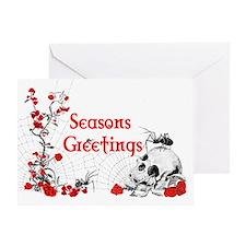 Spider, Skull Greetings Card blank inside on white