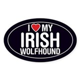 I Love My Irish Wolfhound Oval Sticker/Decal