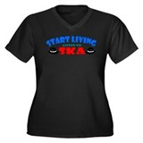 Start Living - Ska Women's Plus Size V-Neck Dark T