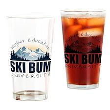 Ski Bum University Drinking Glass