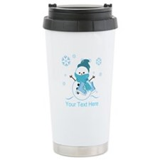 Cute Personalized Snowman Travel Mug