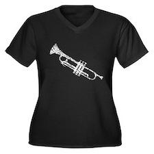 Old, Worn Trumpet Women's Plus Size V-Neck Dark T-