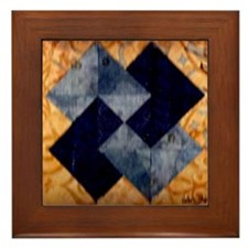 Framed tile/Card trick in shades of blue and amber