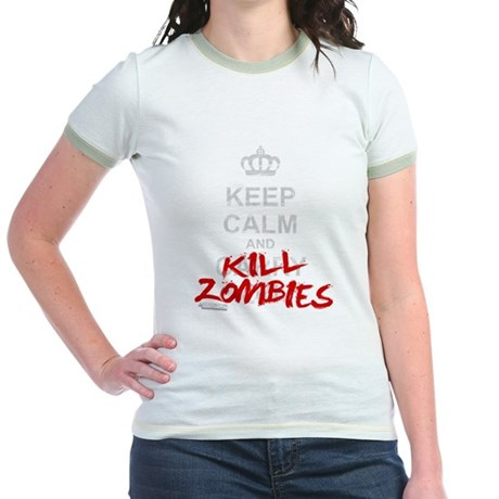 Keep Calm And Kill Zombies Jr. Ringer T-Shirt
