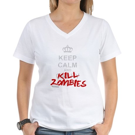 Keep Calm And Kill Zombies Women's V-Neck T-Shirt