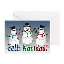 Merry Christmas Snowmen-spanish Cards (Pk o