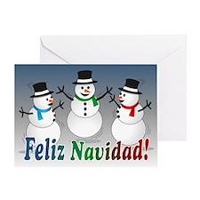 Merry Christmas Snowmen-spanish Card