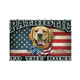 Patriotic - Golden Retriever Rectangle Magnet
