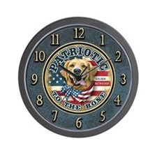 Patriotic - Golden Retriever Wall Clock