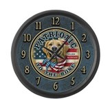 Patriotic - Golden Retriever Large Wall Clock
