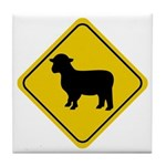 Sheep Crossing Sign Tile Coaster