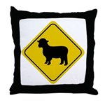 Sheep Crossing Sign Throw Pillow
