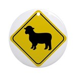 Sheep Crossing Sign Ornament (Round)