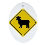 Sheep Crossing Sign Oval Ornament