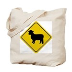 Sheep Crossing Sign Tote Bag