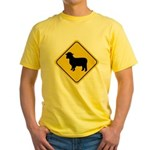 Sheep Crossing Sign Yellow T-Shirt