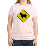 Sheep Crossing Sign Women's Pink T-Shirt