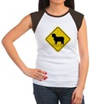 Sheep Crossing Sign Women's Cap Sleeve T-Shirt