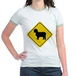 Sheep Crossing Sign Jr. Ringer T-Shirt