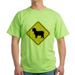 Sheep Crossing Sign Green T-Shirt