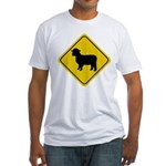 Sheep Crossing Sign Fitted T-Shirt