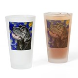 Starry Night Black Labrador R Drinking Glass