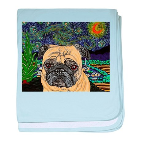 pug VanGogh baby blanket