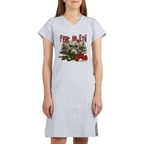 Fear No Evil Skull and Rose Women's Nightshirt
