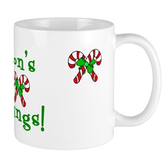 Candy Cane Seasons Greetings Mug