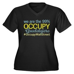 Occupy Guadalajara Women's Plus Size V-Neck Dark T