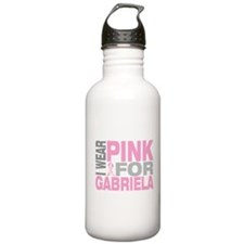 I wear pink for Gabriela Sports Water Bottle