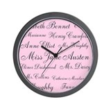 Jane Austen (pink) Wall Clock