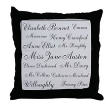 Jane Austen (silver) Throw Pillow